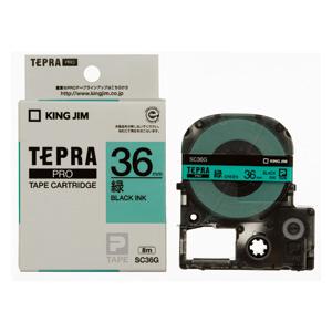【まとめ買い10個セット品】 「テプラ」PRO SRシリーズ専用テープカートリッジ カラーラベル [パステル] 8m SC36G 緑 黒文字 【メイチョー】