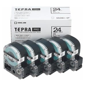【まとめ買い10個セット品】「テプラ」PRO SRシリーズ専用テープカートリッジ エコパック 8m5巻入 SS24K-5P 白 黒文字 5巻(1巻8m) キングジム【開業プロ】