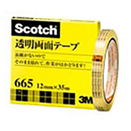 【まとめ買い10個セット品】スコッチ[R] 透明両面テープ 裏紙(はく離紙)なし 665-3-12 1巻 スリーエム【 事務用品 貼 切用品 両面テープ 】【開業プロ】
