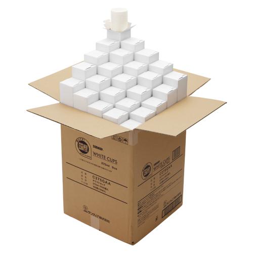 ホワイトカップ 275ml 9オンス C275GAA 2500個 サンナップ【 生活用品 家電 食器 台所用品 紙コップ 】【開業プロ】