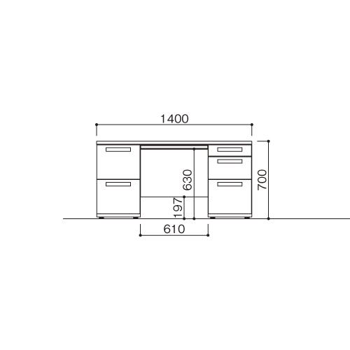 オフィスデスク 両袖机 LDC-R147-LR23(WH) ホワイト/ホワイト 【メイチョー】