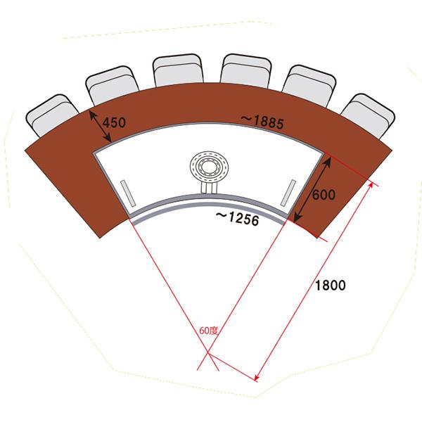 超美品 ピタットステーキ R型(アール型)(5~7人掛け) PSR60-1800 天然 ...
