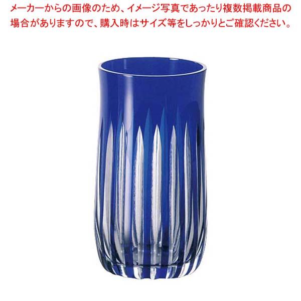 【まとめ買い10個セット品】 江戸切子 十草・タンブラー ルリ 290-104-3 メイチョー