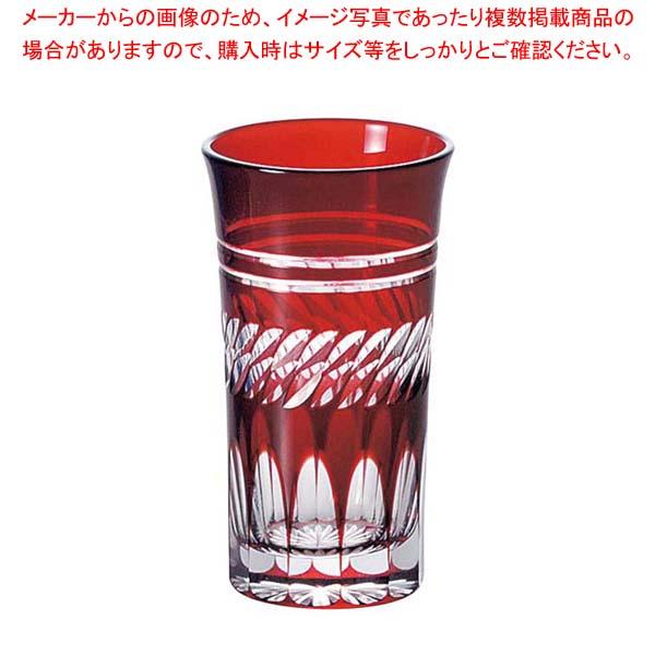 【まとめ買い10個セット品】 江戸切子 菱重ね・一口ビール 赤 03-769-9 メイチョー