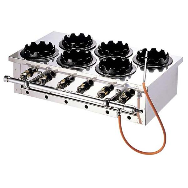 eb-0901840 釜めしガス炊飯器 二列 6個用 与え まとめ買い特価 電気 メイチョー ガスコンロ