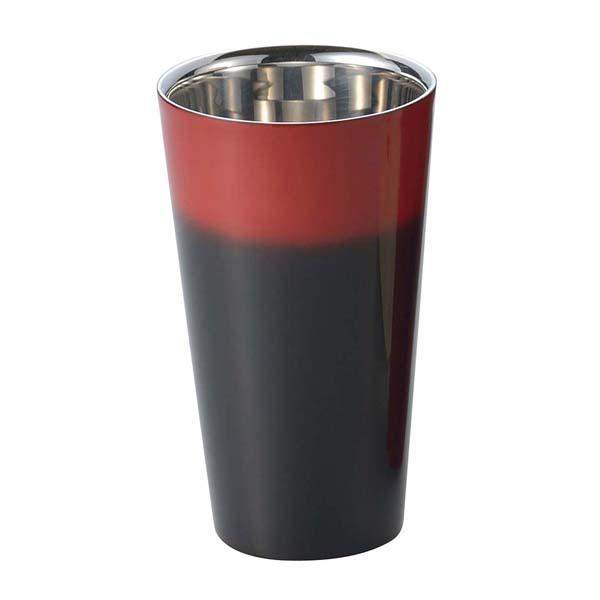 漆磨 2重構造ストレートカップ 270ml 黒彩 SCW-L601 【メイチョー】グラス・酒器