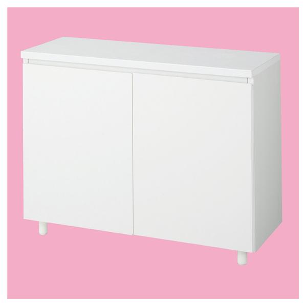 木製収納BOX ハイ/丸棒脚 ホワイト W90cm 【メイチョー】