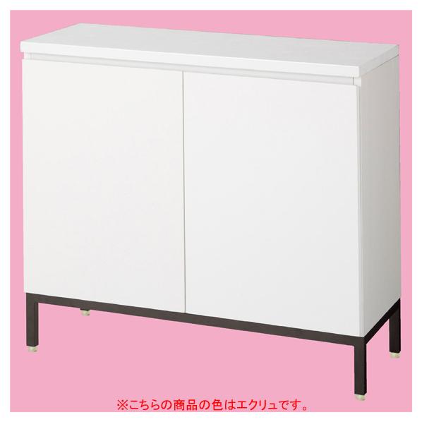木製収納BOXハイ/黒革風脚 エクリュ W90cm 【メイチョー】