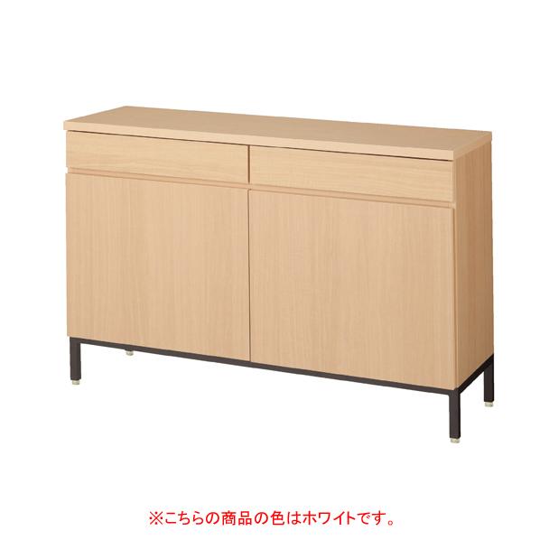 木製収納ボックス W120cm 抽斗+扉ホワイト 黒革風塗装脚 【メイチョー】