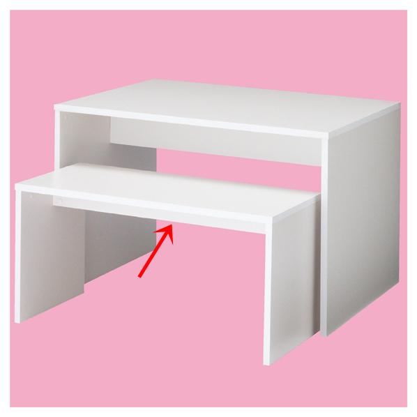 コの字ネストテーブル ロータイプ ホワイト W108 ホワイト(ALL低圧メラミン化粧板) 【店舗什器 ディスプレー マネキン 装飾品 販促用品 ハンガー ラッピング】