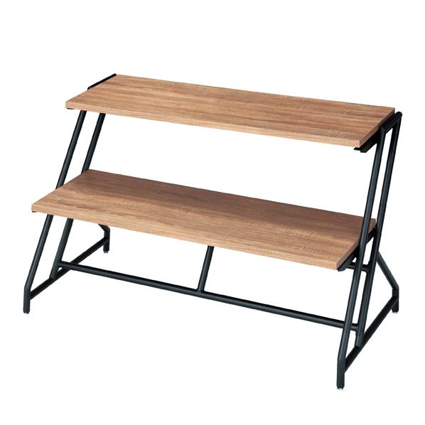 ステア2段テーブルBLK脚棚ラスティック W120 【 店舗什器 ディスプレイ用テーブル 多段テーブル(木製天板) ステアテーブルW120cmタイプ ブラック 】【メイチョー】