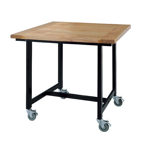 キャスター付天然木テーブル W80 【 店舗什器 ディスプレイ用テーブル テーブル(木製天板) キャスター付き天然木テーブル 】【メイチョー】