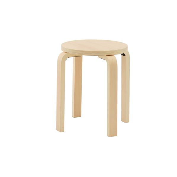 木製丸椅子 ナチュラル 4台 【メイチョー】