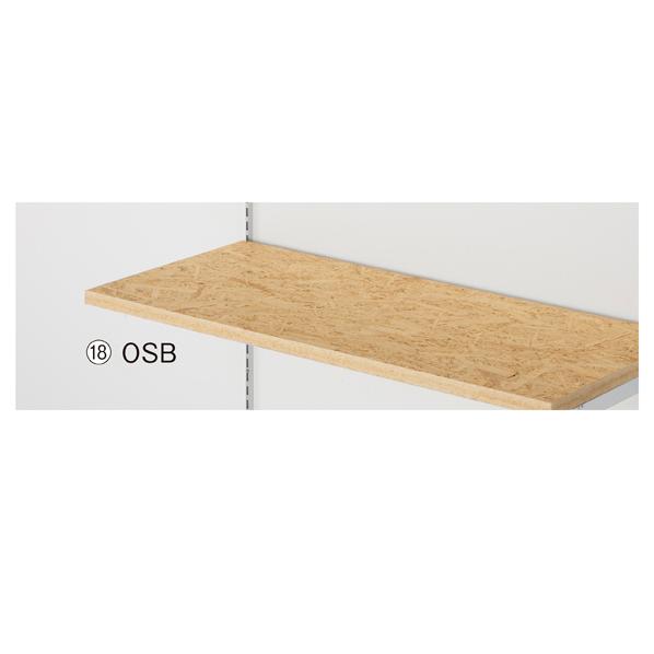 【まとめ買い10個セット品】 OSB木棚W120×D40cm t23mm(ダボ8穴/芯々888・1188/透明ローカン) 【メイチョー】