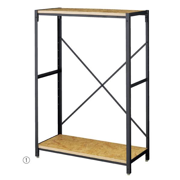 【まとめ買い10個セット品】 OSBシェルフラック4段木棚 W90×H135cm 【メイチョー】