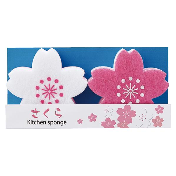 【まとめ買い10個セット品】 さくらキッチンスポンジ2個100セット 【桜 サクラ さくら 春 景品 プレゼント 雑貨 イベント 装飾】 【メイチョー】