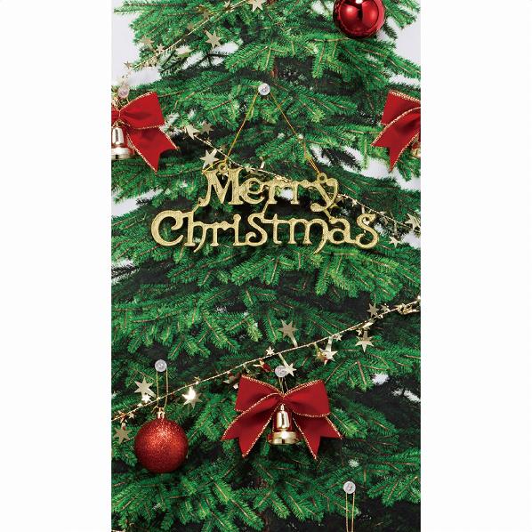 もみの木タペストリー オーナメント付き レッド【クリスマス クリスマスツリー オーナメント 店舗装飾 飾り ディスプレイ christmas xmas】【メイチョー】