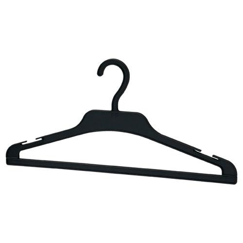 【まとめ買い10個セット品】 プラスチック製ハンガー 黒 250本【店舗什器 パネル ディスプレー ハンガー 棚 店舗備品】