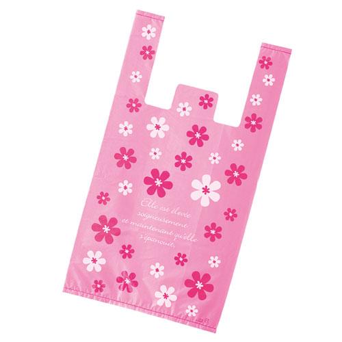 【まとめ買い10個セット品】 レジ袋 ピンクフラワー 24×45(31)×横マチ14 4000枚【店舗什器 小物 ディスプレー ギフト ラッピング 包装紙 袋 消耗品 店舗備品】