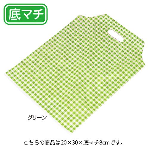 【まとめ買い10個セット品】 山型タイプ格子 グリーン W20cm 100枚【 ラッピング用品 包装 ラッピング袋 ポリ袋 レジ袋 カラー 消耗品 かわいい 業務用 】