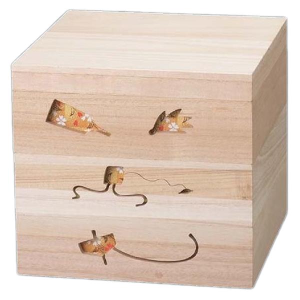 【 お重 重箱 おせち 正月 】越前漆器最高級木製重(桐製) 木製正月のあそび 透かし白木重 6.5寸 金ちらし 3段 【メイチョー】