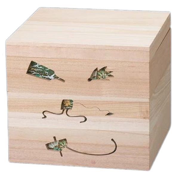 【 お重 重箱 おせち 正月 】越前漆器最高級木製重(桐製) 木製正月のあそび 透かし白木重 6.5寸 緑 3段 【メイチョー】