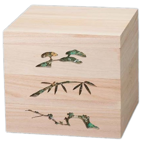 【 お重 重箱 おせち 正月 】越前漆器最高級木製重(桐製) 木製松竹梅透かし白木重 6.5寸 緑 3段 【メイチョー】