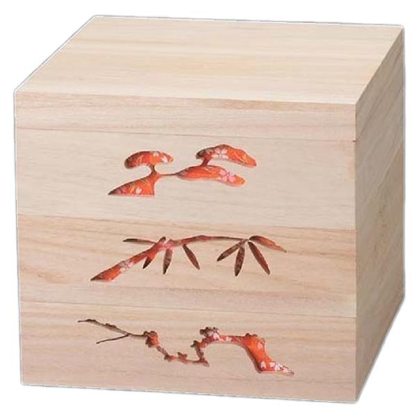 【 お重 重箱 おせち 正月 】越前漆器最高級木製重(桐製) 木製松竹梅透かし白木重 6.5寸 赤 3段 【メイチョー】