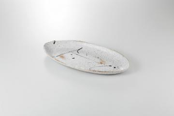 【まとめ買い10個セット品】和食器 織部散し 楕円盛皿 36K157-18 まごころ第36集 【キャンセル/返品不可】【開業プロ】