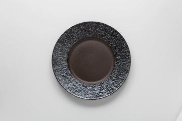 和食器 炭化虹彩 リム丸皿(大) 35K385-07 まごころ第35集