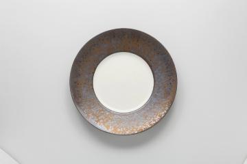 和食器 金結晶 リム丸皿(大) 35K384-04 まごころ第35集