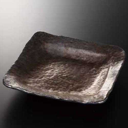 和食器 熔岩流 変形正角盛皿 36K211-02 まごころ第36集 【メイチョー】