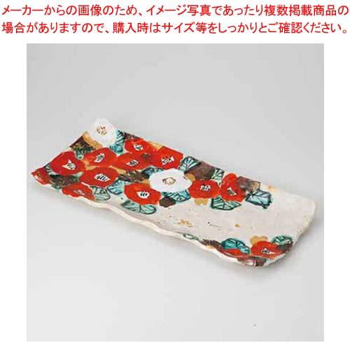 和食器 紅白椿 長盛皿(無鉛) 36Q208-04 まごころ第36集 【メイチョー】