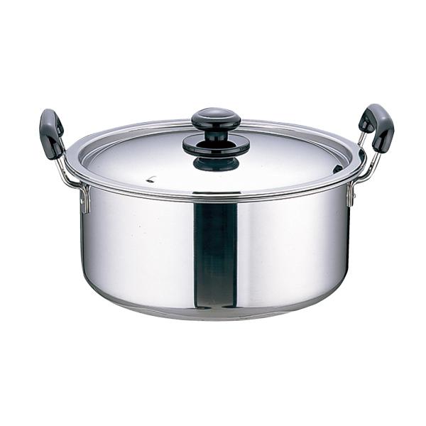 ステンレス プラ柄 厚板実用鍋 (モリブデン含有 ステンレス鋼) 27cm 【メイチョー】