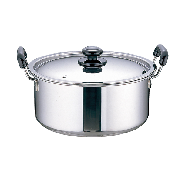 ステンレス プラ柄 厚板実用鍋 (モリブデン含有 ステンレス鋼) 33cm 【メイチョー】
