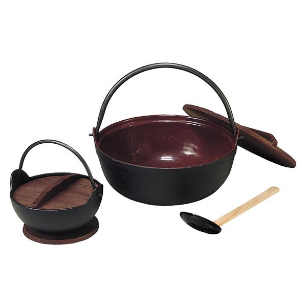五進 鉄 田舎鍋 (茶ホーロー・段無) 30cm(杓子付) 【メイチョー】