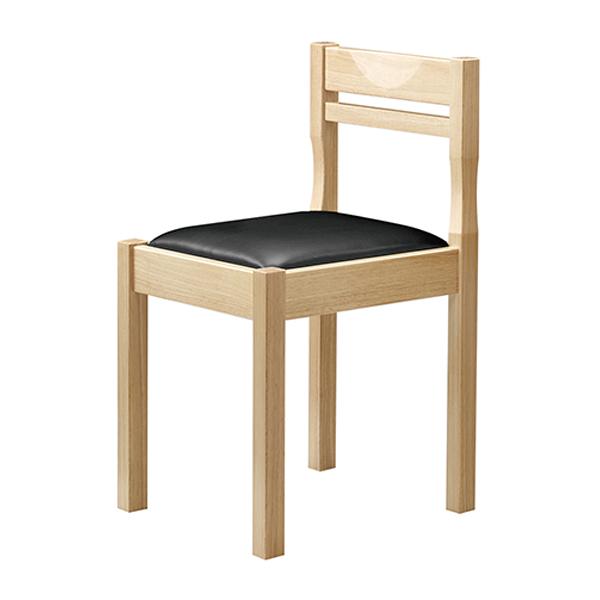 和風椅子 関羽N ナチュラルクリア 1006-1899(黒レザー) 【メイチョー】