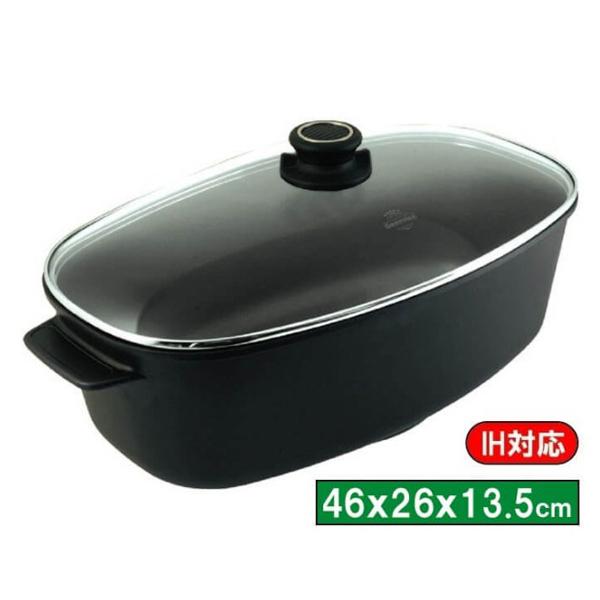 バイオタン IH対応肉丸焼き用鍋ガラス蓋付内寸46×26×13.5cm 17900【開業プロ】