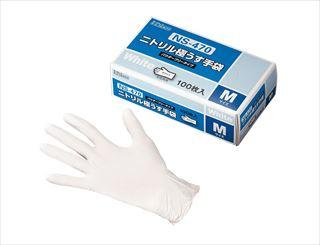 【まとめ買い10個セット品】ダンロップ 粉なしニトリル極うす手袋 白 NS470 M(100枚入) メイチョー