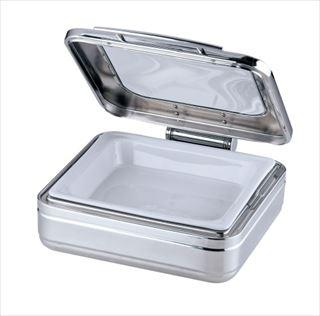 KINGO角チェーフィング 2/3サイズ J302-Tガラス蓋・陶器中皿 メイチョー