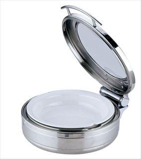 KINGO丸チェーフィング 小 J305-Tガラス蓋・陶器中皿 メイチョー