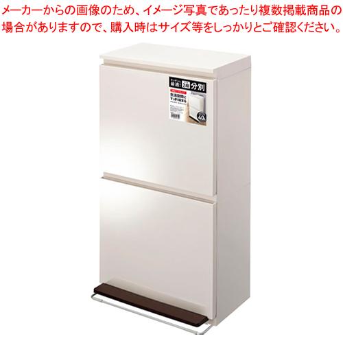 分別ダストボックス ペダル2段ワイド 40L ホワイト 【メイチョー】