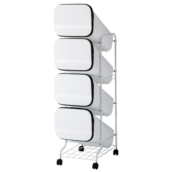 スムース 分別ごみ箱 4段 ダストボックス 80L ホワイト GBBH003【開業プロ】