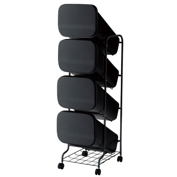 スムース 分別ごみ箱 4段 ダストボックス 80L ブラック GBBH004【開業プロ】