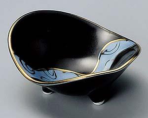 和食器 ミ078-186 黒釉流水金彩石庭珍味