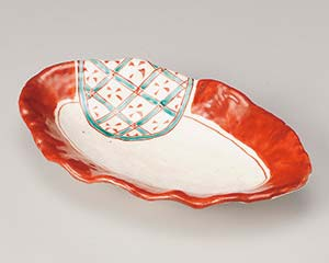 【まとめ買い10個セット品】和食器 オ188-057 赤絵緑格子花型楕円皿【キャンセル/返品不可】【開業プロ】