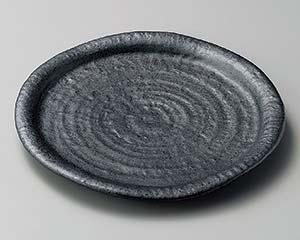 【まとめ買い10個セット品】和食器 ア203-107 結晶黒マット8.0皿【キャンセル/返品不可】【開業プロ】