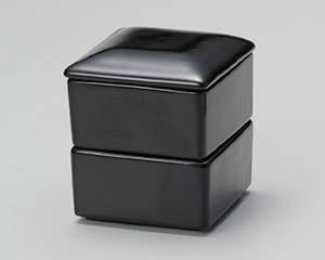 【まとめ買い10個セット品】和食器 ウ295-396 黒釉四角二段重 【キャンセル/返品不可】【開業プロ】