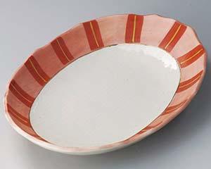 【まとめ買い10個セット品】和食器 ミ306-047 ピンク間取楕円大皿【キャンセル/返品不可】【開業プロ】