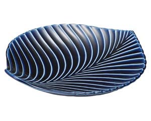 【まとめ買い10個セット品】和食器 イ422-256 茄子紺 BLUE リーフ皿 大 【キャンセル/返品不可】【開業プロ】